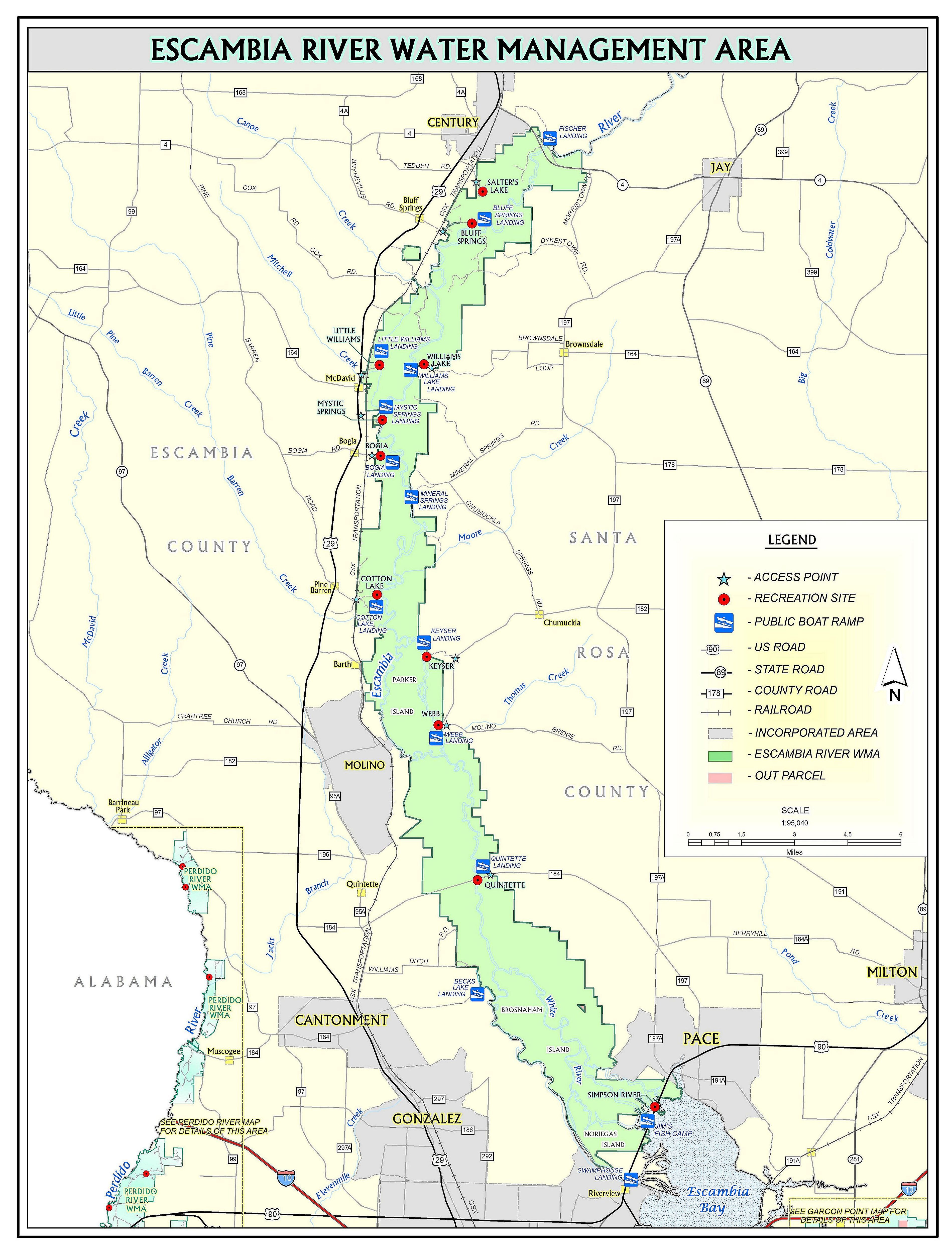 Escambia River Northwest Florida Water Management District - Florida map rivers