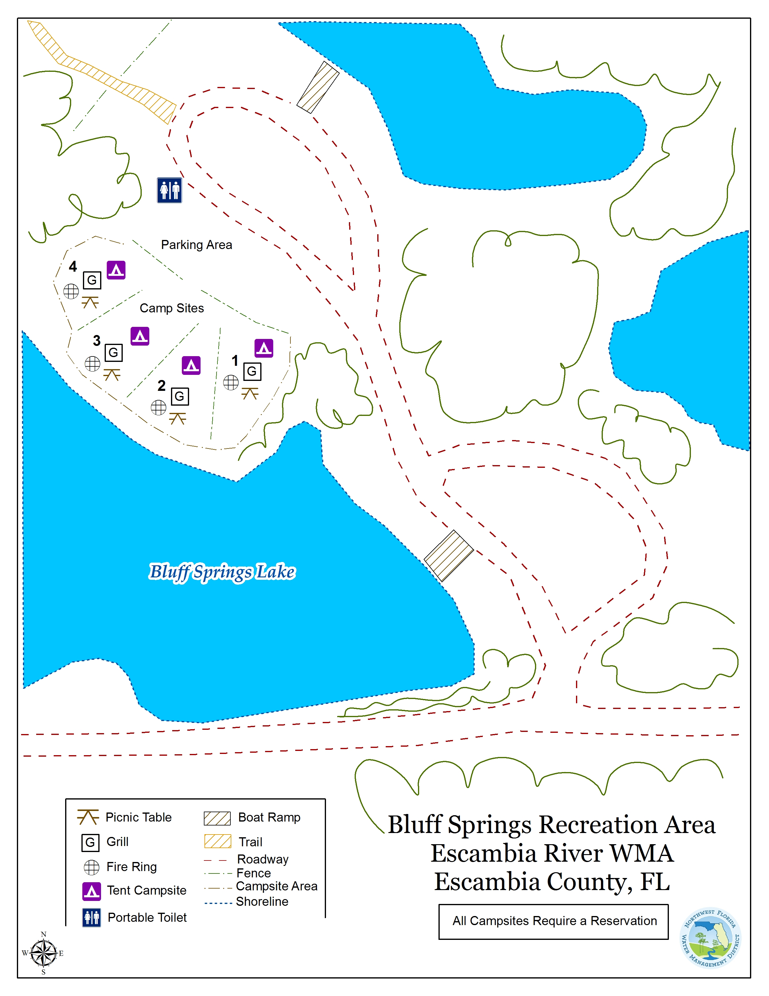Map Of Springs In Florida.Bluff Springs Recreation Area Northwest Florida Water Management